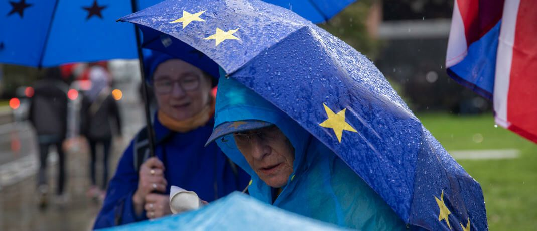 Anti-Brexit-Demonstration vor dem Parlament in London: Europa steht im Regen, sagt Baader-Bank-Chefanalyst Robert Halver.