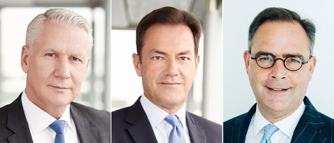 Andreas Kanning, Joachim Müller und Klaus-Peter Röhler (v.l.): Da Müller neuer Vorstandsvorsitzender des Industrieversicherers AGCS werden soll, übernimmt Kanning seinen Chefposten bei der Allianz Beratungs- und Vertriebs-AG und Röhler wird den Plänen zufolge den Vorstandsvorsitz der Allianz Versicherungs-AG.|© Allianz SE