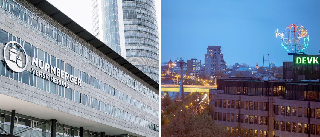 Fassade der Nürnberger-Zentrale im Business Tower Nürnberg und DEVK-Zentrale am Kölner Rheinufer: Die Lebensversicherer haben jetzt ihre Überschussbeteiligung für 2020 veröffentlicht. |© DEVK, Nürnberger