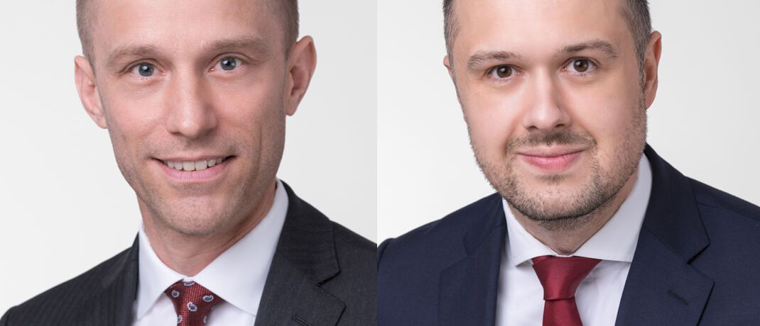 Florian Friske (l.) und Christopher Chwalek kümmern sich bei der Fondsgesellschaft Oddo BHF um den Verkauf von Publikumsfonds.|© Oddo BHF