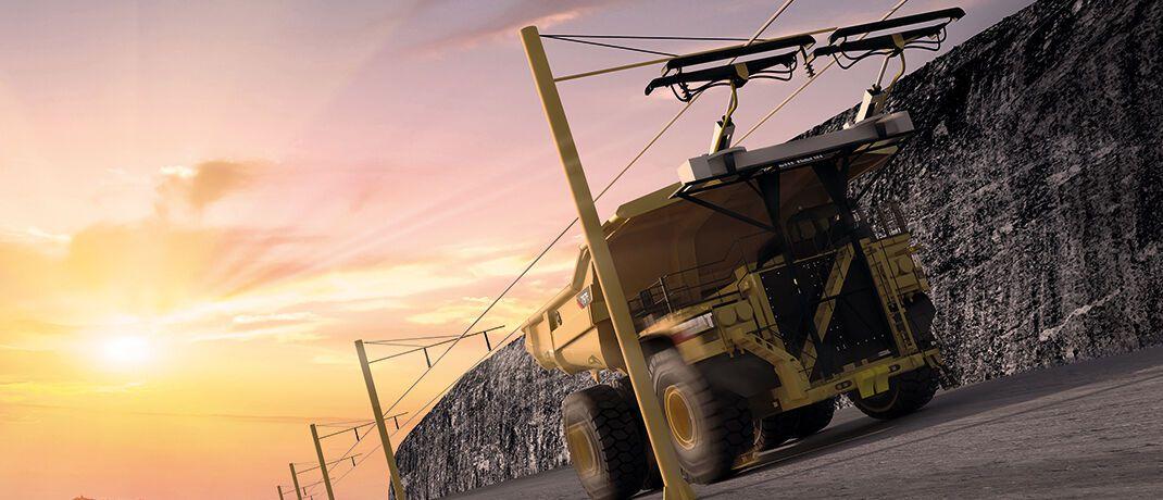 Oberleitung eines elektrisch betriebenen Kipplasters des Bergbauproduzenten Boliden, der auf eine Fahrzeugflotte mit Elektroantrieb setzt. Das Unternehmen wird von der ERIG mit einem sehr guten Nachhaltigkeitsscore bewertet|© Boliden Group