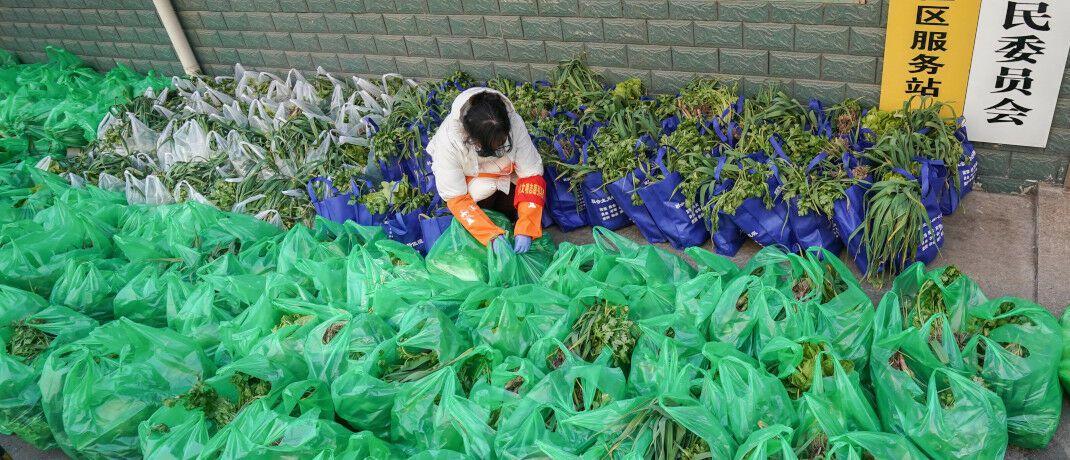 Lokale Behörden haben Gemüsepakete für Bewohner der Region um Wuhan in China bereitgestellt: Wuhan gilt als Epizentrum der jetzt ausgebrochenen Virus-Epidemie. © imago images/ ChengxMin PUBLICATION