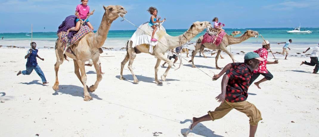 Kamelreiten am Diani Beach in Kenia: Wer hat im Wettrennen der drei aussichtsreichsten Volkswirtschaften Afrikas die Nase vorn?|© imago images / Ardea