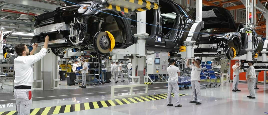 Produktion des Audi-Modells e-tron in Brüssel: Batterie-Recycling ist ein wesentlicher Bestandteil nachhaltiger Elektromobilität. © imago images / Belga
