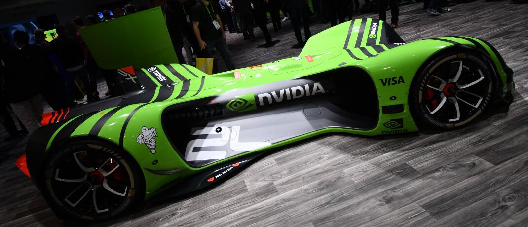 Das Roborace Car von Nvidia ist ein autonom fahrendes, elektrisches Fahrzeug: Die Nvidia-Aktie ist mit 6,4 Prozent Gewichtung die größte Position im Storebrand Global Solutions.|© imago images / ZUMA Press / Gene Blevins