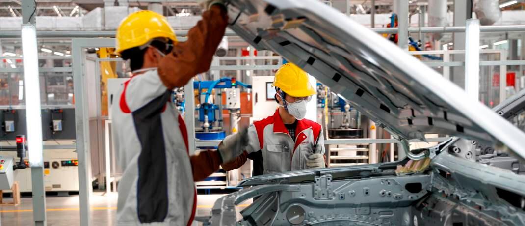 Autofabrik im Südwesten Chinas: In vielen Provinzen Chinas wird die Produktion nach dem Abebben der Epidemie wieder hochgefahren.|© imago images / Xinhua