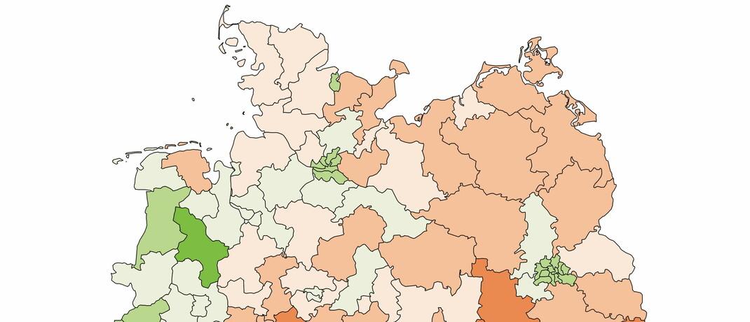 Wahlvolk nach Regionen: Die Bundesrepublik ist aktuell in 299 Wahlkreise aufgeteilt. Den jeweiligen Seniorenanteil zeigt der Gesamtverband der Deutschen Versicherungswirtschaft (GDV) in einer aktuellen Infografik (siehe Link zum PDF-Download unten).|© Gesamtverband der Deutschen Versicherungswirtschaft (GDV)
