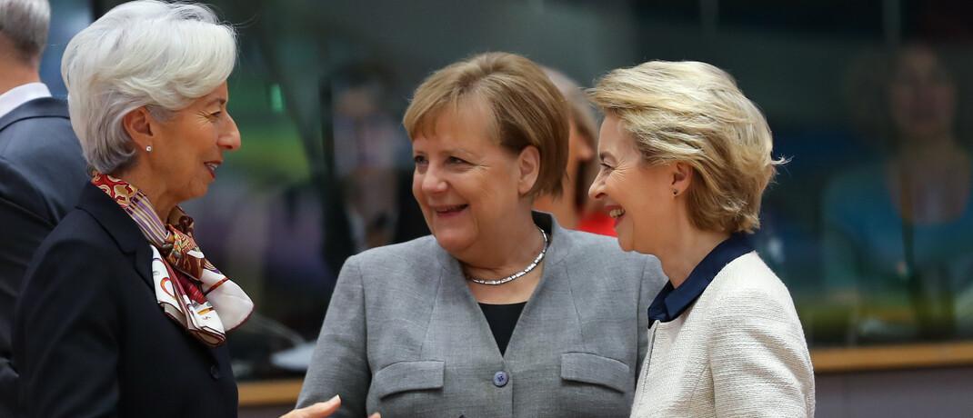 EZB-Chefin Christine Lagarde, Bundeskanzlerin Angela Merkel und EU-Kommissionspräsidentin Ursula von der Leyen (v.l.): Nordeuropa muss sich entscheiden, welchen Wert die Eurozone für das eigene wirtschaftliche Wohlergehen hat.