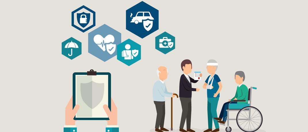 Pflegeversicherung, Unfallversicherung, KFZ-Haftpflicht, Krankenzusatzversicherung, Auslandsreisekrankenversicherung spielen für ältere Versicherungsnehmer eine besonders große Rolle.  © Freepik, rawpixel.com/Freepik, studiogstock/Freepik, Ibrandify/Freepik