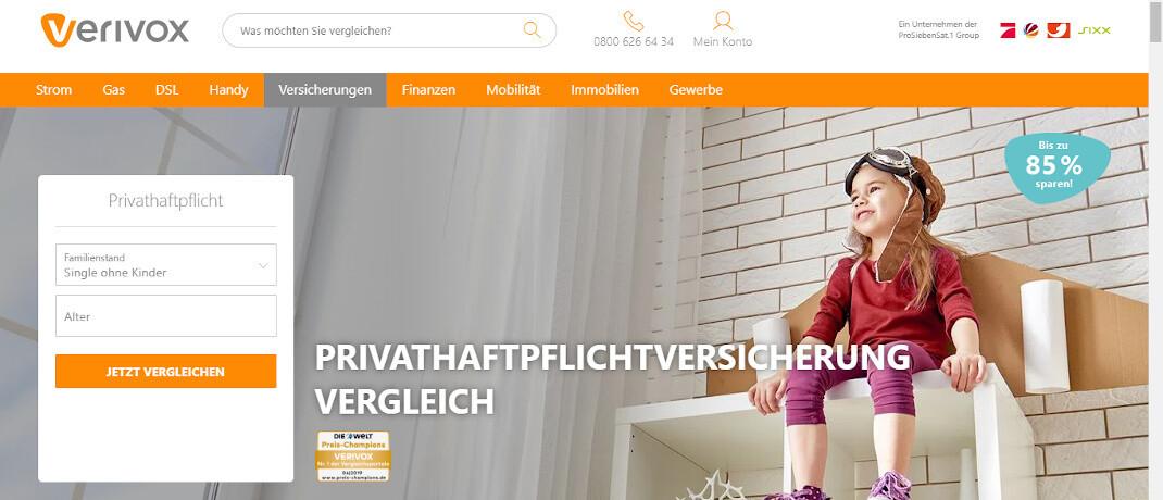 Versicherungsvergleich im Internet: Das Online-Portal Verivox muss seine Kunden besser aufklären, hat das Landgericht Heidelberg nach einer Klage der deutschen Verbraucherzentralen entschieden.|© Screenshot Verivox