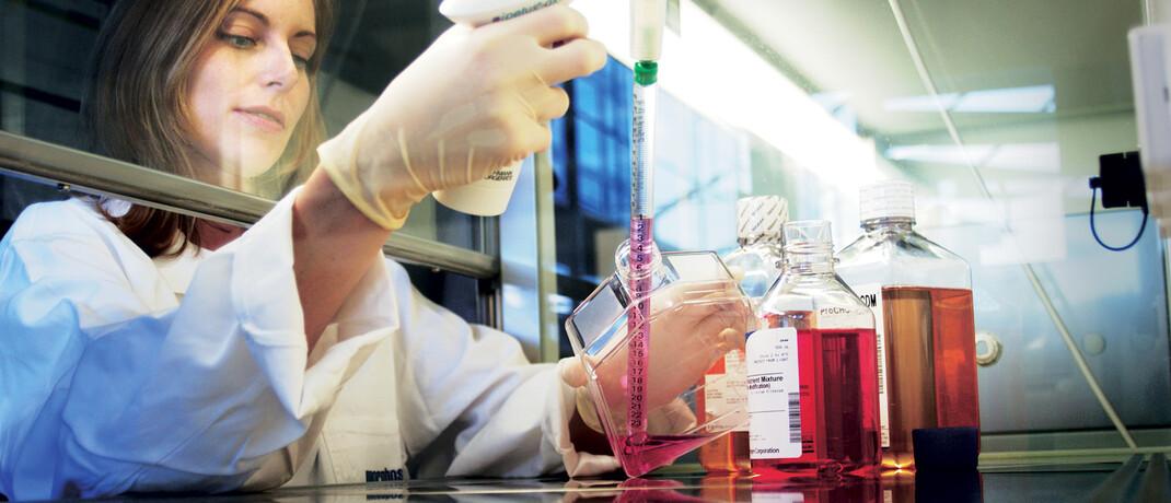 Mitarbeiterin des Unternehmens Morphosys forscht an Zellkulturen: Die Aktie des deutschen Unternehmens steckt in zahlreichen Biotechnologiefonds, unter anderem im RIM Global Bioscience.|© Morphosys