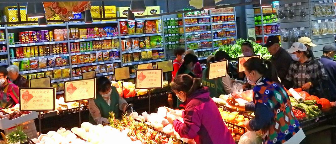 Supermarkt in der chinesischen Provinz Jiangsu: Im Basiskonsumsektor erwarten 37 Prozent der Fidelity-Analysten einen positiven Effekt des Covid-19-Lockdowns auf die Gewinne.|© imago images / Xinhua