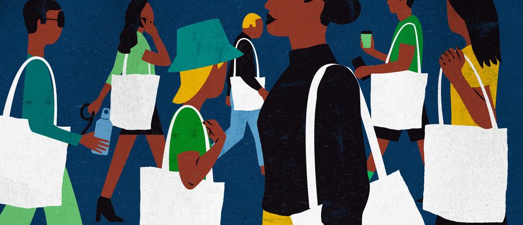 Illustration einkaufender Menschen: Einer der neuen Lyxor-ETFs thematisiert Konsumverhalten.