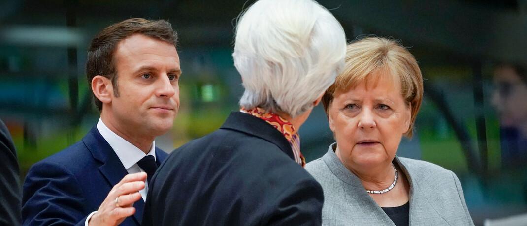 Der französische Präsident Emmanuel Macron, EZB-Chefin Christine Lagarde und Bundeskanzlerin Angela Merkel (v.l.): Die politischen Entscheider müssen noch entschlossener vorgehen und an einem Strang ziehen.