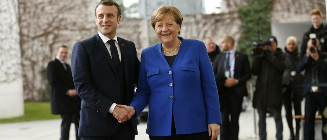 Der französische Präsident Emmanuel Macron mit der deutschen Bundeskanzlerin Angela Merkel: 500 Milliarden Euro wollen beide Regierungschefs für die EU-Krisen-Staaten zur Verfügung stellen.