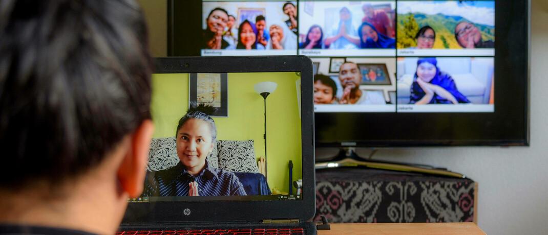 Digitales Familientreffen: In der Corona-Krise stiegen Aktien von Online-Kommunikationsanbietern.