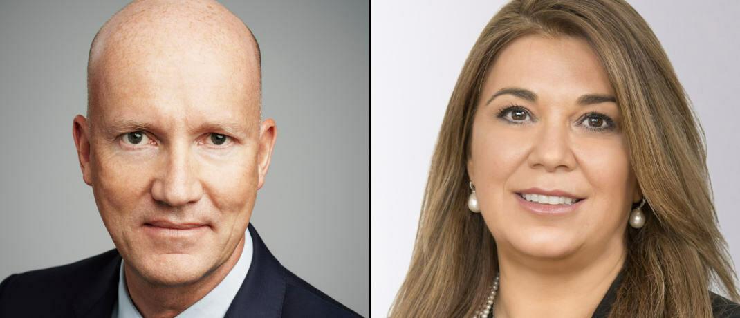 Der Chef der neuen AGI-Anleiheplattform, Franck Dixmier, und die frischgebackene Leiterin des US-Geschäfts von AGI, Malie Conway