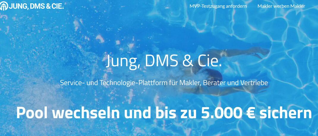 Screenshot der Angebotsseite von Jung, DMS & Cie.: Die Wiesbadener wollen Neumakler mit einer Prämie von sich begeistern.
