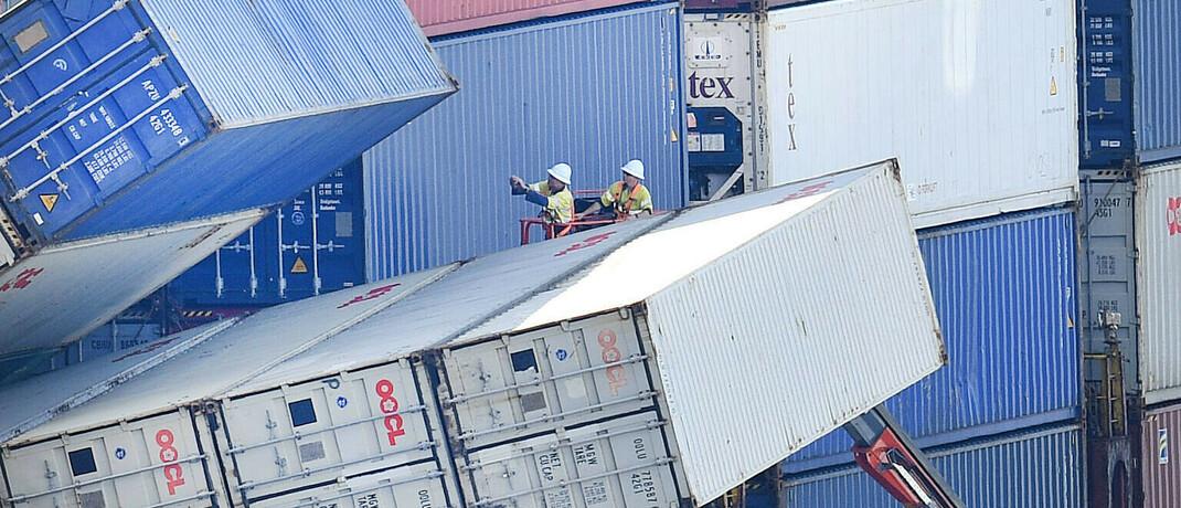 Container-Domino im Hafen von Brisbane in Großbritannien: China will seine wirtschaftliche Macht ausbauen