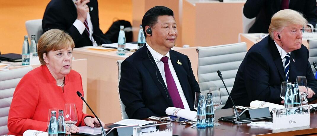 Angela Merkel mit den Regierungschefs Xi Jinping (China) und Donald Trump (USA) beim G20-Gipfel 2017 in Hamburg: Bei Edmond de Rothschild erwartet man, dass Deutschland, China und die USA um die globale wirtschaftliche Vorherrschaft kämpfen.