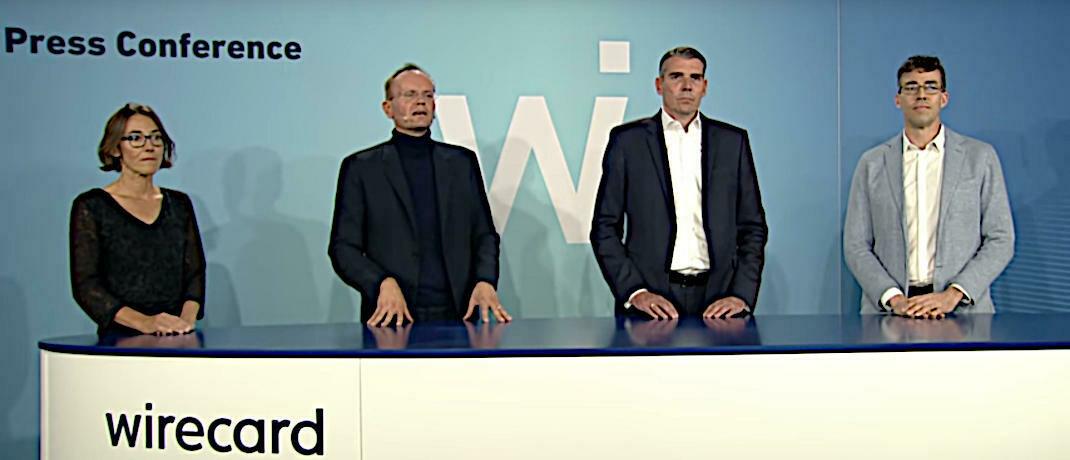 Der Wirecard-Vorstand im Video (von links): Susanne Steidl, Markus Braun (Chef), Alexander von Knoop, James Freis, Jr. (Neueinsteiger)