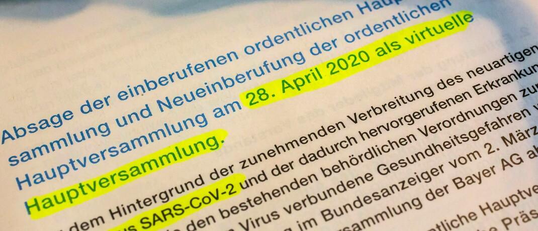 Einladung zur Hauptversammlung der Bayer AG. Sie hatte als erstes Dax-Unternehmen eine virtuelle HV ausgerichtet.