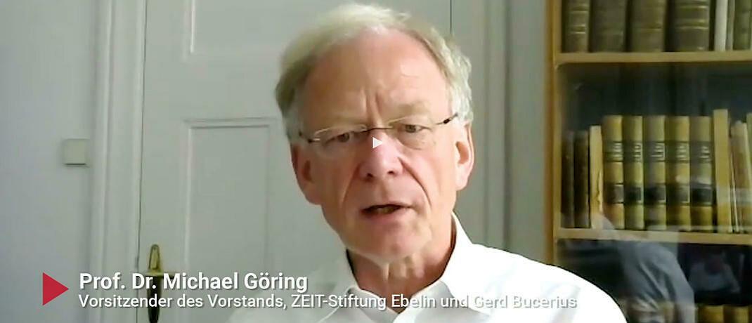 Michael Göring, Vorstandschef der Zeit-Stiftung Ebelin und Gerd Bucerius, im Gespräch: Auch Stiftungen müssen Geld zweckgebunden verwenden. © Screenshot Finanzplaner TV