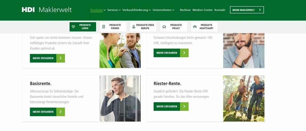 Screenshot der HDI Maklerwelt: Mit seinem neuen Online-Angebot will der Versicherer Makler bei der digitalen Kommunikation unterstützen.|© HDI Vertriebs AG