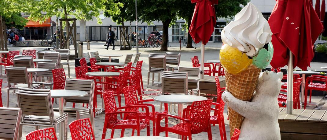 Leeres Eiscafé in Berlin während des Shutdowns im Frühjahr 2020.