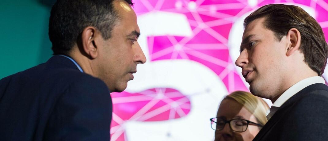 Srini Gopalan (links), Vorstandsmitglied der Deutschen Telekom und Österreichs Bundeskanzler Sebastian Kurz auf der Pressekonferenz zum Start des G5-Netzes: G5 gilt als Wachstumsthema.