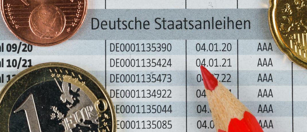 Übersicht deutscher Staatsanleihen in einer Zeitung: Seit dem 2. September 2020 können Anleger auch grüne Bundesanleihen kaufen. |© imago images / Schöning