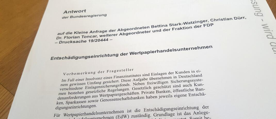 Deckblatt der kleinen parlamentarischen Anfrage der FDP
