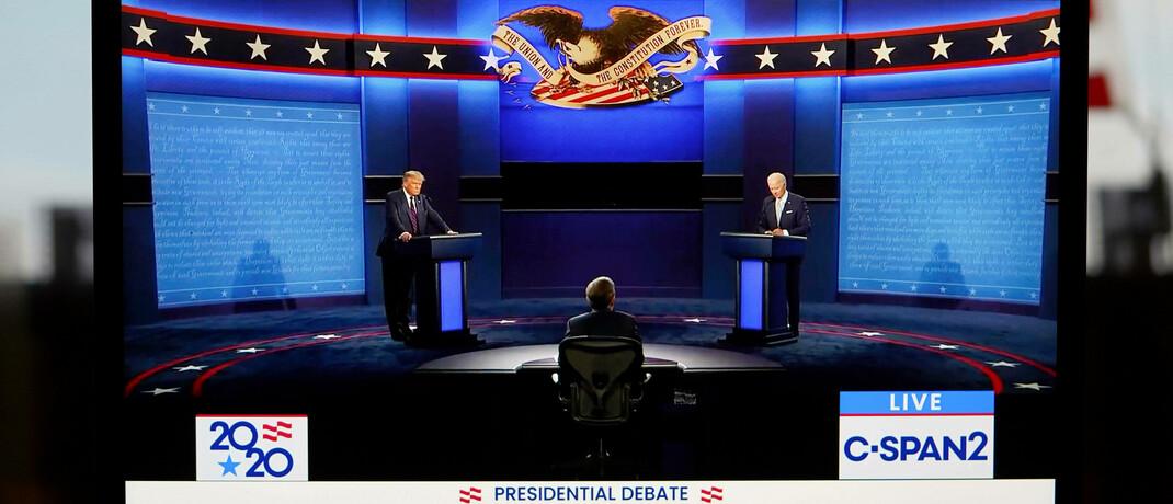 US-Präsidentschaftskandidaten Donald Trump (links) und Joe Biden im Fernsehduell