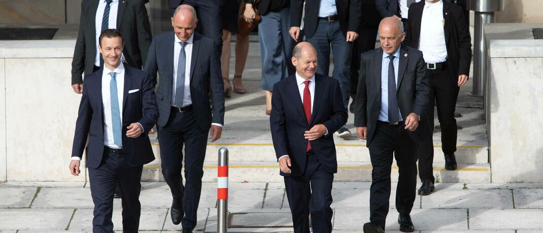 Finanzminister Gernot Blümel (Österreich), Adrian Hasler (Liechtenstein), Olaf Scholz (Deutschland) und Ueli Maurer (Schweiz) (v.l.n.r.)