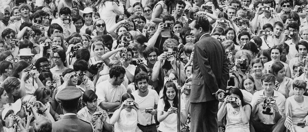 US-Präsident Richard Nixon spricht 1969 vor Studenten