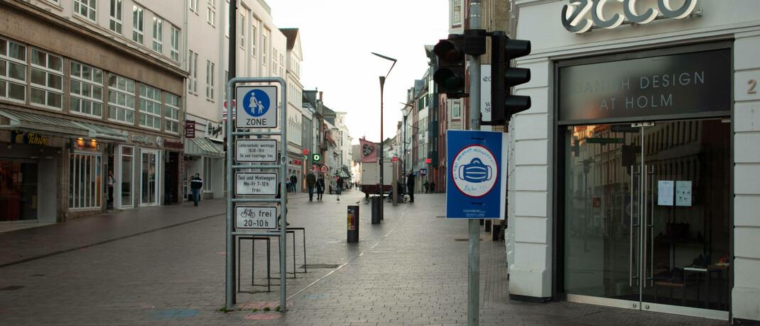 Leere Fußgängerzone in Corona-Zeiten