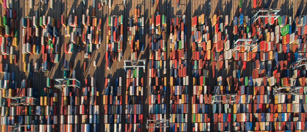 Schiffscontainer in Norfolk im US-Bundesstaat Virginia