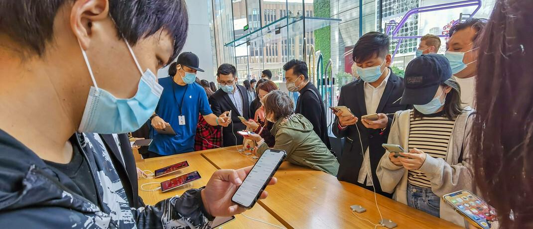 Smartphone-Geschäft in Shanghai