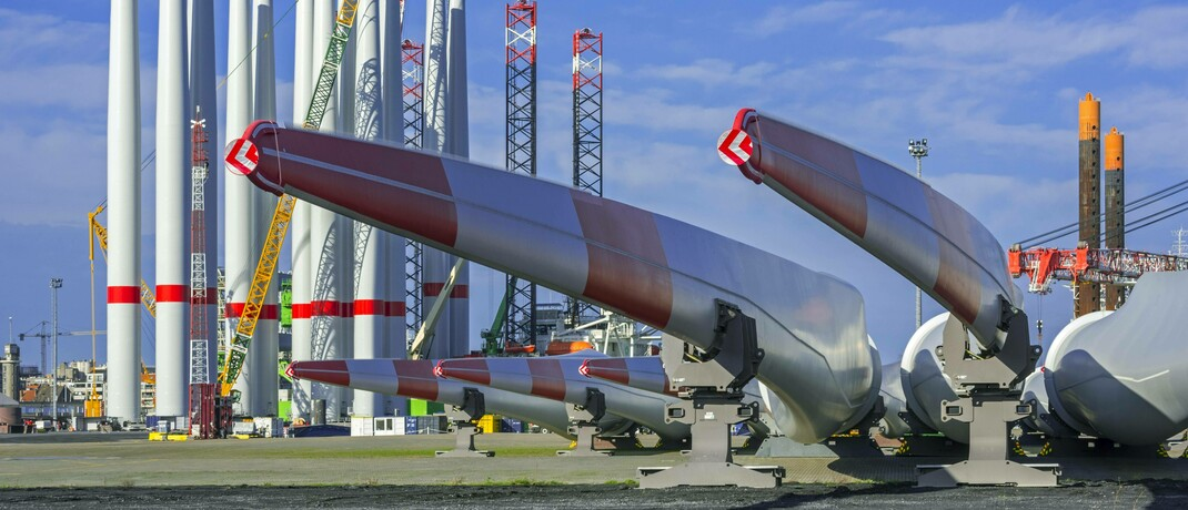 Bauteile für den Windpark Seamade in der belgischen Nordsee