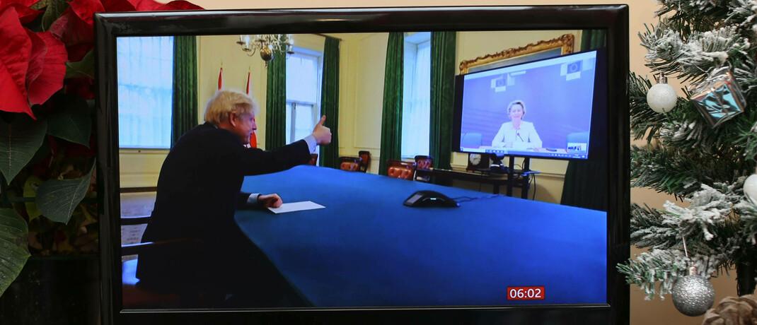 Der britische Premier Boris Johnson im Video-Telefonat mit EU-Kommissionspräsidentin Ursula von der Leyen