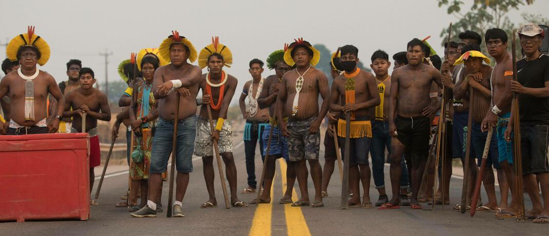 Ureinwohner Brasiliens protestieren gegen die Abholzung ihres Lebensraums