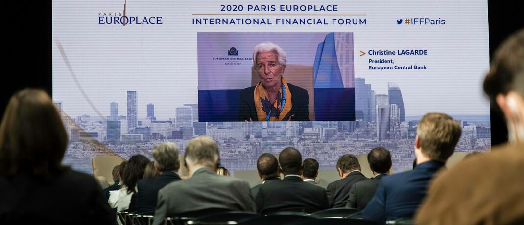 Video-Auftritt von EZB-Chefin Christine Lagarde auf dem Finanzforum Paris