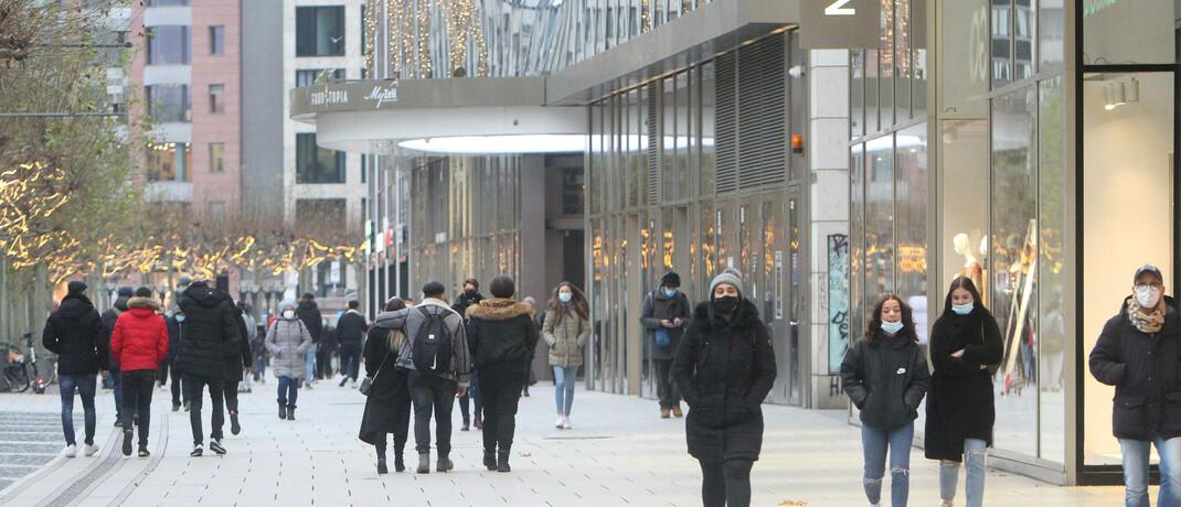 Einkaufsstraße in Frankfurt im Lockdown