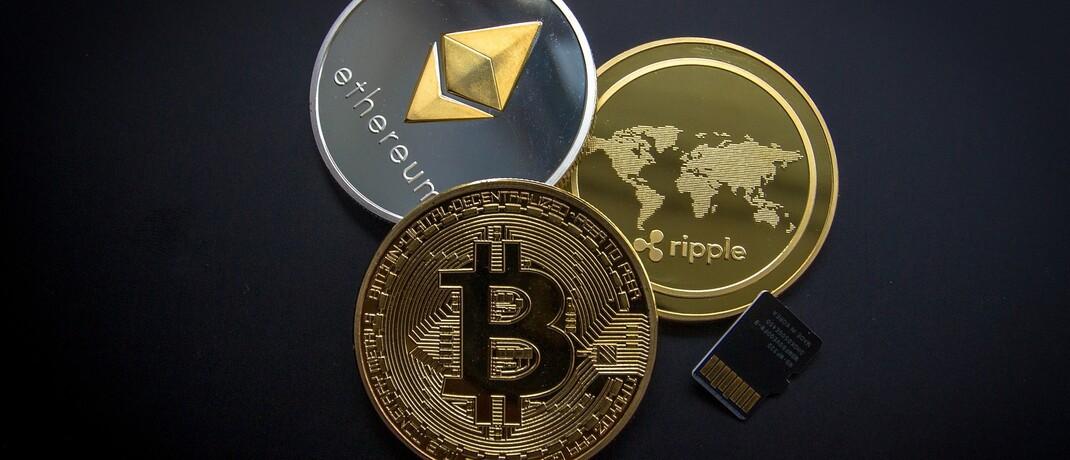 Kryptowährungen Ethereum, Bitcoin und Ripple