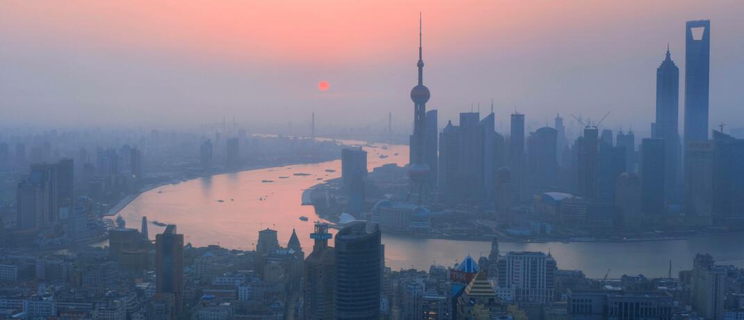 Wintersonnenaufgang in Shanghai