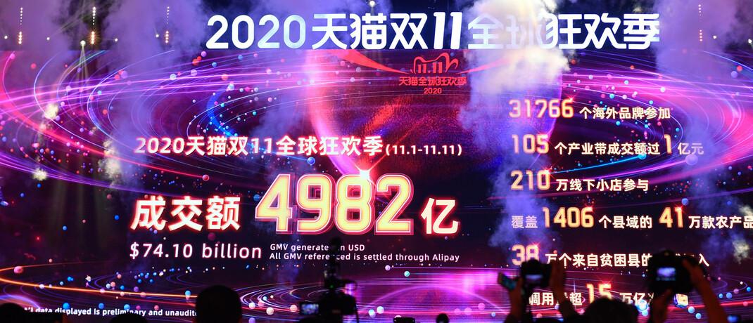 Der chinesische Tech-Gigant Alibaba vermeldet bei seiner elftägigen Rabattaktion zum Singles' Day 2020 einen Warenumsatz von mehr als 74 Milliarden US-Dollar