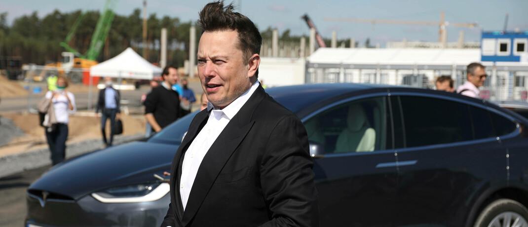 Elon Musk im September 2020 auf der Baustelle der Gigafactory Berlin-Brandenburg