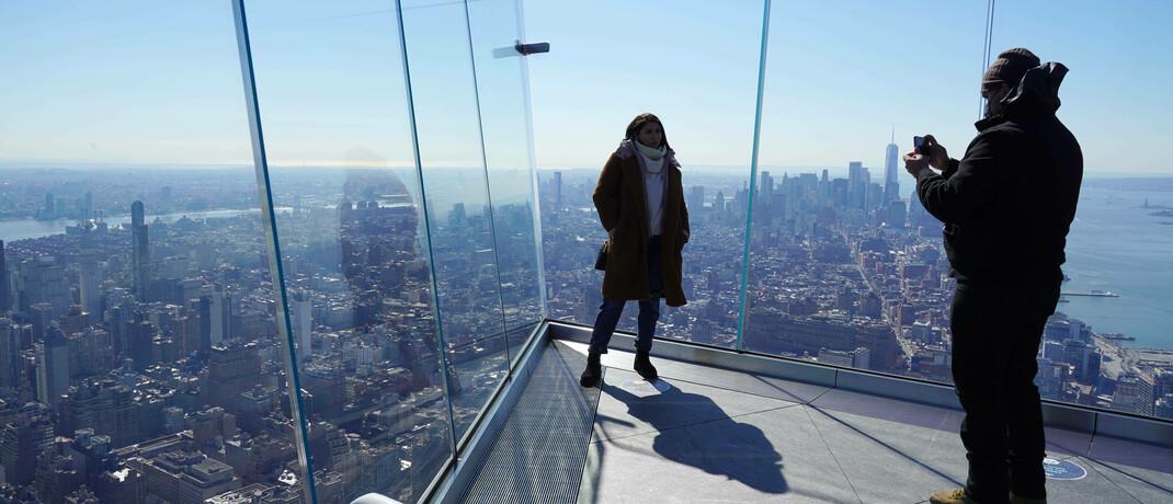 Blick vom Gebäude The Edge auf Manhattan