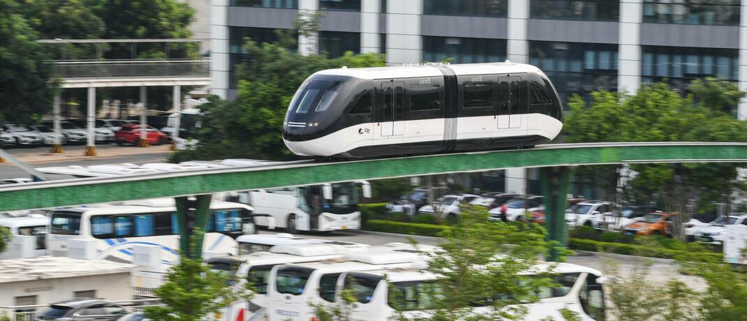 Magnetschwebebahn im BYD-Hauptquartier in Shenzhen
