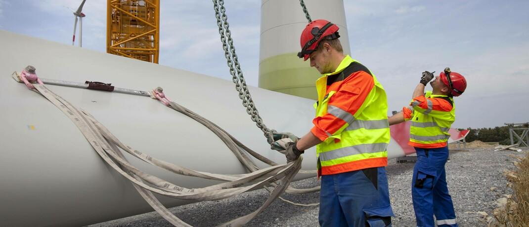 Montage einer Windkraftanlage